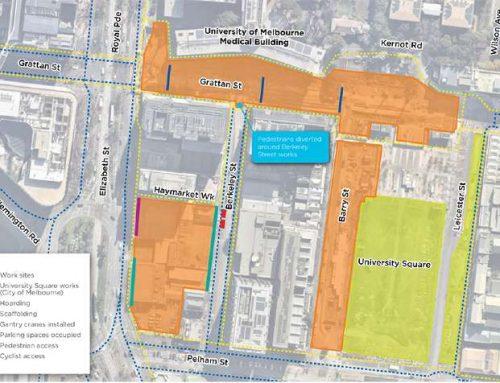 Work is underway on Grattan Street to build Parkville Station